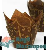 Корзинка бумажная Тюльпан коричневая с золотом