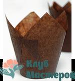 Корзинка бумажная Тюльпан коричневая