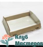 Коробочка картон крафт прямоугольная с крышкой прозрачной Средняя