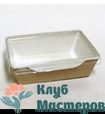 Коробочка картон крафт прямоугольная с крышкой прозрачной Малая