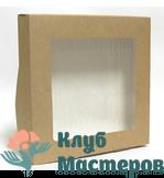 Коробочка картон крафт квадратная с окошком большая