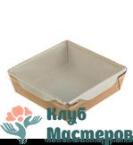 Коробочка картон крафт квадратная с крышкой прозрачной