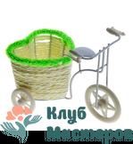 Корзинка Велосипед с кашпо сердцем зеленый