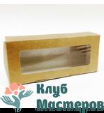 Коробочка картон крафт прямоугольная с окошком Средняя 25шт