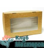Коробочка картон крафт прямоугольная с окошком Большая 25шт