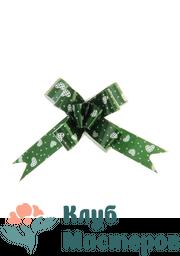 Бант бабочка голография Сердечки зеленый