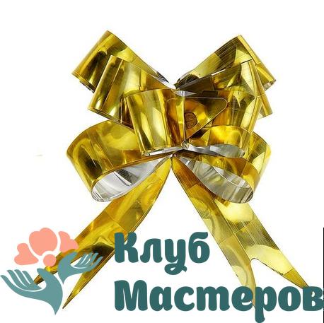 Бант бабочка голография Золотой