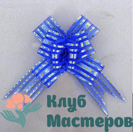 Бант бабочка Золотой горох синий