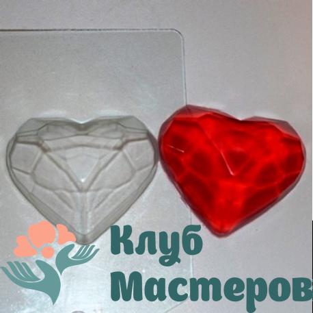 Форма пластиковая Граненое сердце